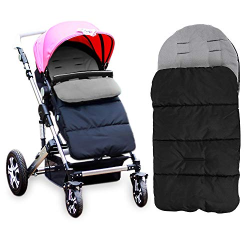 Kidsidol Baby Sleeping Bag Universal 3-in-1 Stroller Annex Mat Footmuff Cover Stroller Bunting Bag Waterproof Windproof Cold-proof Detachable (Grey)