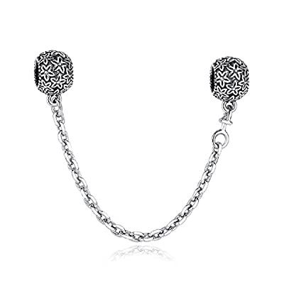 "Glamulet 925 Sterling Silver ""Silver Flower Bouquet"" Safety Chain Fits Charm Chamilia Bead from Glamulet"