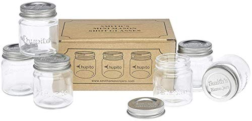 "Smiths Mini Mason Jar set of 6""Chupito"" Shot Glasses with Lids - 2oz Per Shot Glass from Smith's Mason Jars"