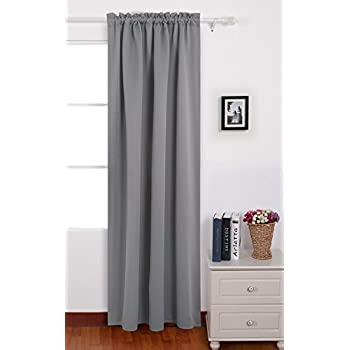 Deconovo Light Grey Blackout Curtains Rod Pocket Drapes Room Darkening For Dining 42 W