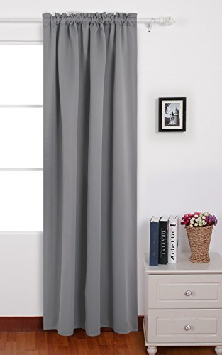 Deconovo Solid Color Rod Pocket Back Tab Curtains Thermal Insulated Blackout Curtains for Dining Room 42 W x 84 L Light Grey 1 Panel