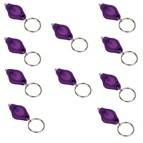 LUMAND 10 Pack Uv Mini LED Flashlight Keychain Torch Light Lamp Id Currency Passports Detector (10Pcs, Purple)