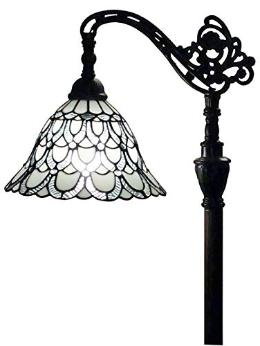 """Tiffany Style Floor Lamp Arched 62"""" Tall Stained Glass White & Mahogany Peacock Feathers Antique Vintage Light Decor Bedroom Living Room Reading Gift AM107FL11 Amora Lighting"""