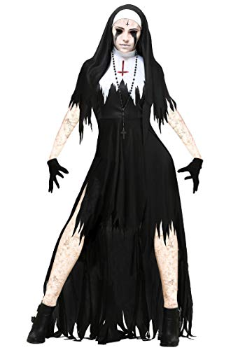 Happy Island New Halloween Role-Playing Vampire Nuns Devil Costume Party Masquerade Dress Black