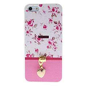 Mini - Special Design Red Rose Pattern and Gold Heart-Shaped Zipper Head Covered Hard Case for iPhone 5/5S