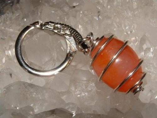 Carnelian Spiral Gemstone Crystal Cage Keyring none