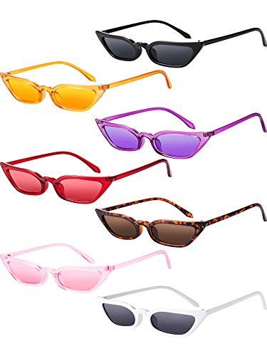- Zhanmai Retro Small Cat Eye Sunglasses Vintage Square Shade Women Cute Skinny Cat Eye Eyewear (7 Pairs)