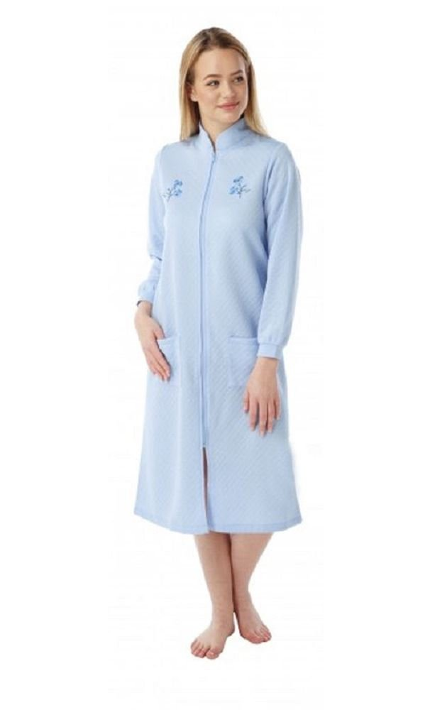 Ladies Lightweight Quilted Zip Dressing Gowns With Embroidery Marlon ...