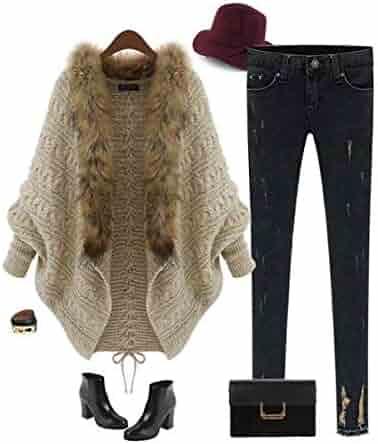 9d62cdfeb4d358 Women Open Front Knit Cardigan with Fur Bat Sleeve Sweaters Loose Outwear  Coat