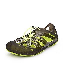 Xiujanet Mens Aqua Water Shoes Beach Sandals (US10, Transparent Black)
