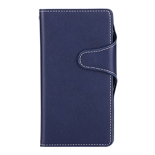 Cover for Sharp Serie Mini/Shv 38(Card Slots), BasicStock Retro Flip PU Leather Wallet Notebook Case Pouch with Card Holder/Kickstand Magnetic Closure Snap Coverage Phone Bumper Shell(Dark -