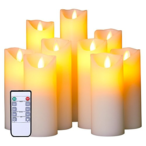 Warren Flameless LED Candles Set of 9 Real Wax Candles 10-Key Remote Control with Timer Function 300+ Hours by 2 AA Batteries Waterproof Outdoor Indoor Candles for Gift, Wedding, Votive, ()