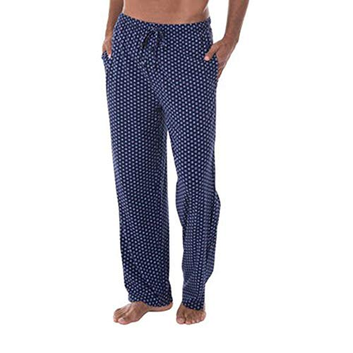 (Fruit of the Loom Men's Extended Sizes Jersey Knit Sleep Pant, Navy Foulard,)