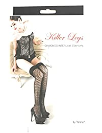 Yelete Killer Legs Women's Fishnet Thigh High Stockings with Stay Up Silicone Bands