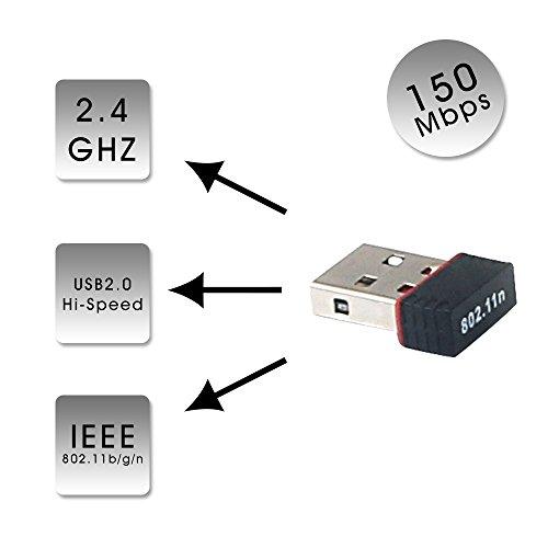 USB 2.0 WiFi Dongle Long Range Fast 150Mbps 802.11b/g/n RT7601 for Windows XP, VISTA, WIN7, WIN8, WIN10, MAC, (Ieee 802.11b/g Ism Band)