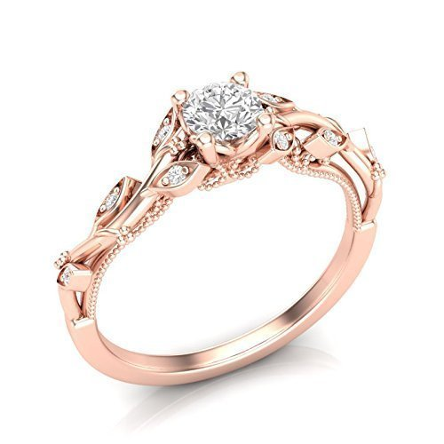 Rose Gold Wedding Ring.Amazon Com 14k Rose Gold Floral Engagement Ring Diamond Milgrain