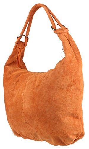 Girly Italian Girly Shoulder Hobo HandBags HandBags Suede Leather Bag Orange wqIr5gIxa