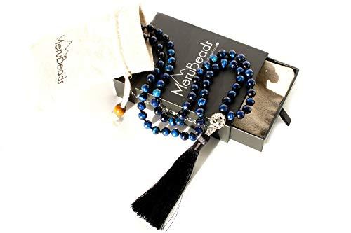 - Premium Tiger's Eye Blue Mala Beads Necklace - Mala Necklace - Japa Mala - Buddha Necklace - Buddhist Prayer Beads - Tassel Necklace - 108 Mala Beads Meditation