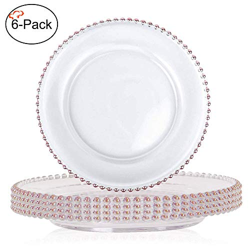 Tiger Chef 12-inch Round Rose Gold Rimmed Beaded Glass Charger Plates Set of 2,4,6, 12 or 24 Dinner Chargers (6-Pack)