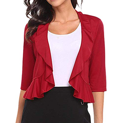 LIM&Shop  Summer Coat Half Sleeves Open Front Loose Causal Lightweight Kimono Cardigan Suit Cover up Blazer Jacket Red]()