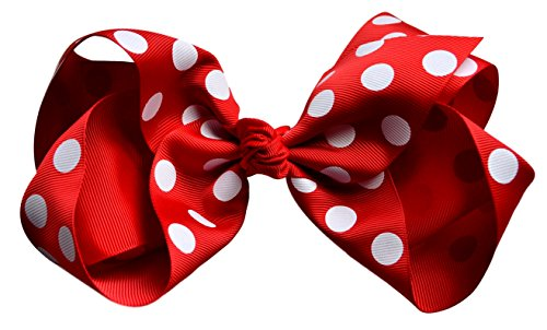 Large Red POLKA DOT Hair Bow by Funny Girl Designs - 8 INCHES WIDE (RED POLKA DOT) ()