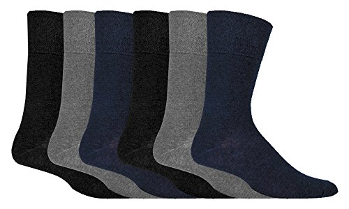 IOMI - 6 Pack Mens Thin Non Binding Extra Wide Loose Top Cotton Diabetic Socks (Mens 6-11 US,39-45 UK, Grey, Navy, Black)