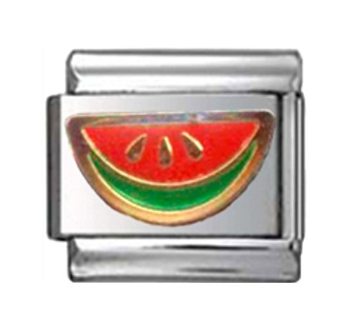 Italian Charm Fruit (Stylysh Charms Watermelon Slice Fruit Enamel Italian 9mm Link FO002)