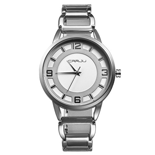Ladies Skeleton Bracelet Jewelry Band Watch Japan Quartz Round Dial Slim Metal Wrist Watch (silver) from Lancardo