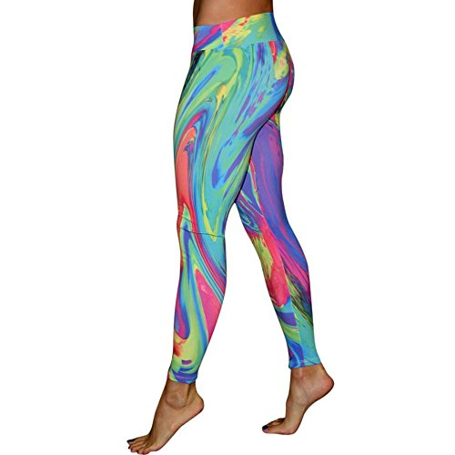 Foutou Yoga Pants Womens Colorful Print Mid Elastic Waist Breathable Thin Workout Gym Sports Running Leggings Fitness Stretch Pencil Trousers (L, Multicolor)