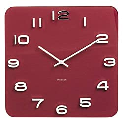 Karlsson Vintage Glass Wall Clock (Burgundy Red)