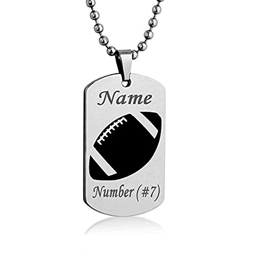 Sport Silhouette Baseball Basketball Football Volleyball Hockey Customize Engrave Dog tag Necklace Pendant 24 inch Stainless Steel Chain Giftpouch and Keyring (Football) (Sports Silhouettes)