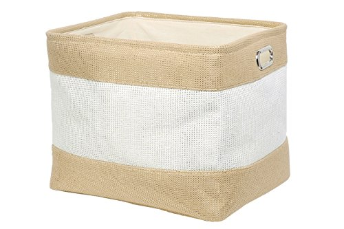 Perber Large Linen Collapsible Rectangular Storage Bins for Kids Toys,Pet Toys,Baby Clothes, Bedroom,Office,Closet Organizer (Old Woven Baskets)