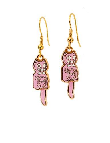 (Kit Cat Klock Earrings (Pink & Gold Hook))