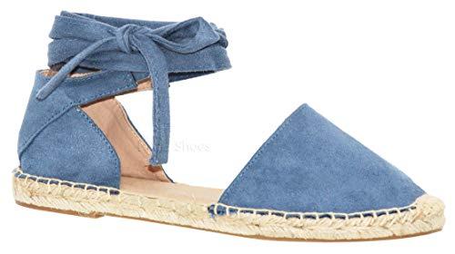 (MVE Shoes Women's Lace up Sandals - Faux Leather Cute Summer Sandals -Wrap Gladiator Flat Sandals, Layout BLU SU 6)