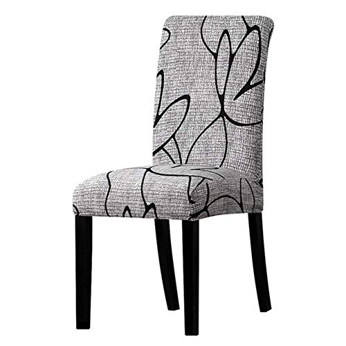 BERTERI Print Grey Floral Leaves Chair Cover 4PCS Seat Chair Covers Universal Resterant Hotel Party Banquet Slipcovers Home Decoration ()