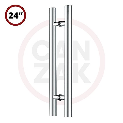 Canzak 24 inch Brushed Stainless Steel Pull Push Door Handles, Interior or Exterior, Contemporary, Modern (Swing Door Handle)