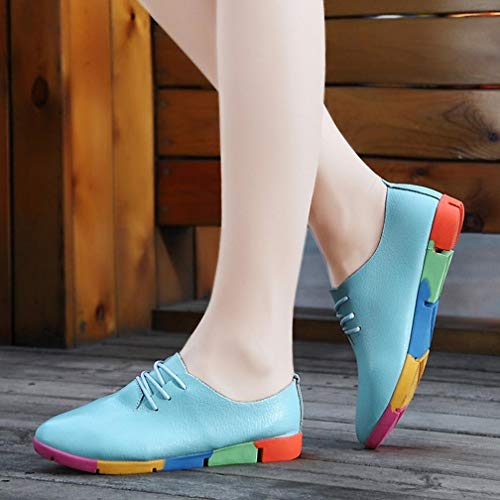 Elegant Women FALAIDUO up Leather Blue Shoes Pointed Casual Flats Comfortable Lace Leisure Shoes Fashion Shoes Light Toe Lady OOd0tqrx