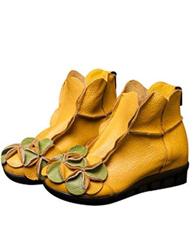 Youlee Damen Winter Herbst Blume Flache Stiefel Stiefeletten Yellow Fur Lining
