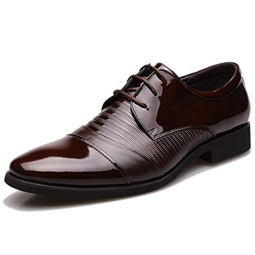 NBWE Herren Runde Kappe Glänzende Leder Derby Schuhe Leder Schuhe Schnürschuhe Keilabsatz Brown