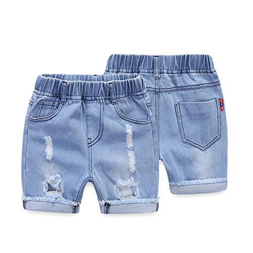 RongCun Baby Boys Denim Shorts Ripped Jeans Short Pants Elastic Waist Shorts