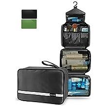 MAXCHANGE Mens Toiletry Bag, Foldable Toiletry Bag with Medium Capacity and 4 Layers Portable Waterproof Flat, Bathroom/Travel Hanging Makeup Bag for Men Women(black)