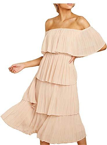 (ETCYY Women's Off The Shoulder Ruffles Summer Loose Casual Chiffon Long Party Beach Maxi Dress Beige)