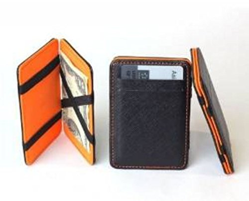 Generic New Mens MAGIC MONEY CLIP Leather Wallet Slim Money Clip Slim Wallet (Orange)