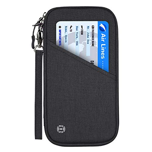Vemingo Family Passport Holder with Accordion Design RFID - Blocking Travel Wallet Ticket Holder Document Organizer with Zipper for Women & Men