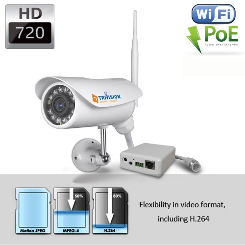 TriVision NC-326PW HD 720P Bullet Outdoor IP Security Camera Waterproof, Wi-Fi Wireless N, POE, 15m IR Night Vision, Motion Dection Triggered Email Alerts, Built-in DVR and Install in 3 Steps with Our Free Dedicated Apps on iPhone, iPad, Android Smartphon