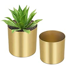 MyGift Decorative Cylindrical Brass-Tone Brushed Metal Vases, Set of 2