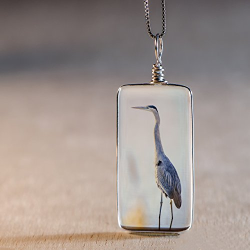 Necklace on Sterling Silver: Original Great Blue Heron Image Fused to Artisan Made Pendant on Italian Sterling Silver Box Chain (Kind Handcrafted Gift Box)