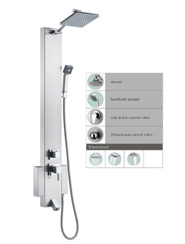 Blue Ocean 48 Stainless Steel SP822322 Shower Panel Tower with Rainfall Shower Head and Spout by Spas Outlets