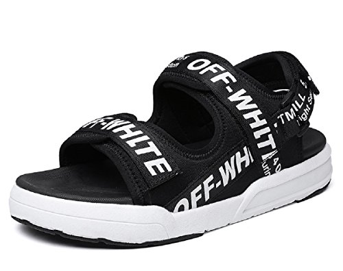 Rainrop Mens Comfort Adjustable Straps Summer Open-Toe Gladiator Outdoor Water Sandals Black (Adjustable Strap Sandals)