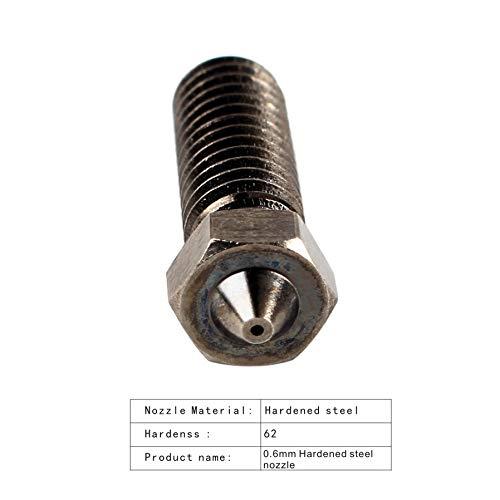 BCZAMD 2Pcs 3D-Druckerteil Vulkand/üse aus geh/ärtetem Stahl 0,6 mm f/ür Hochtemperaturfilament PETG PEEK Kohlefaser Co Kompatibel mit Lulzbot Moarstruder Hotend Extruder
